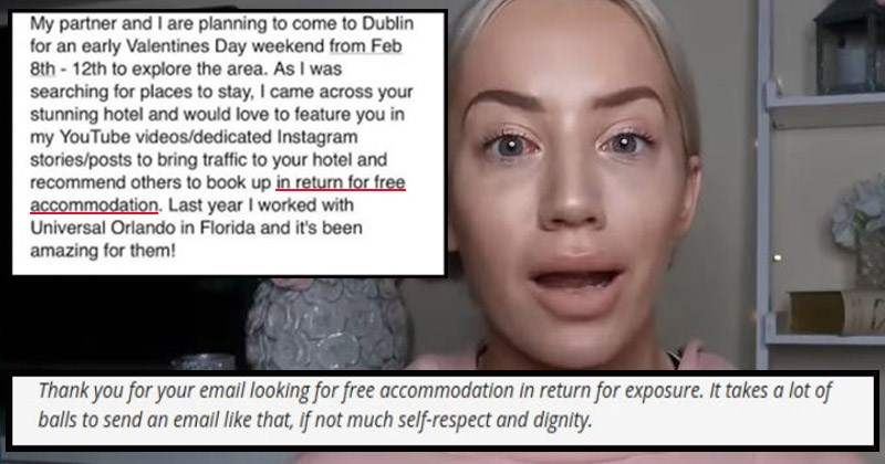 Email exchange between an entitled social media influencer and a hotel owner
