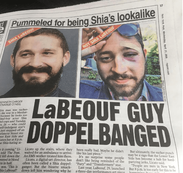 A Guy Got Punched for Looking Like Shia LaBeouf, but It's Okay Because Shia Left Him a Voicemail
