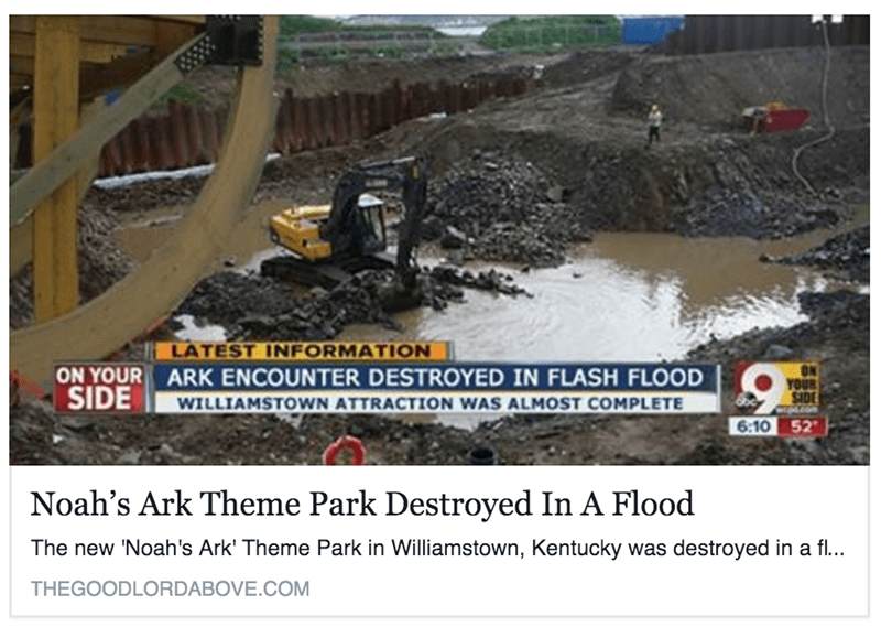 noahs ark them park destroyed ironic flood
