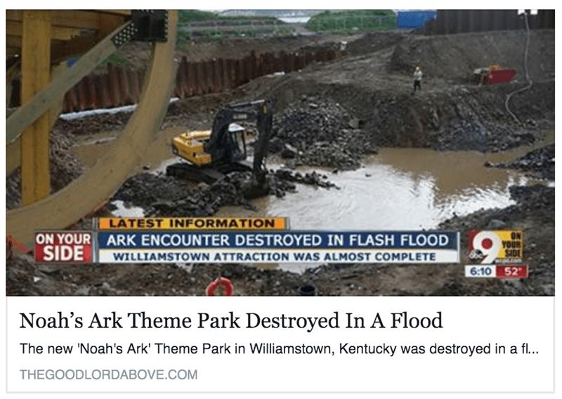 noahs ark them park destroyed ironic flood