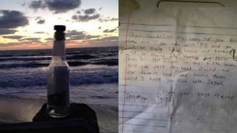 image message friendship A Man Found a Message in a Bottle From a Fifth Grader That Will Break Your Heart