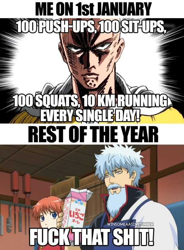 anime truth gintama one-punch man working out - 8792877056