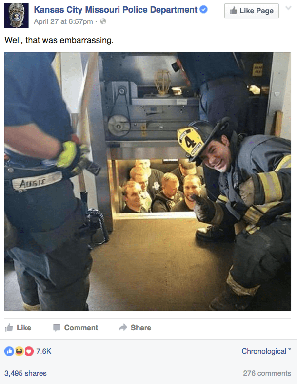 funny fail image kansas city police get rescued from elevator by fire department