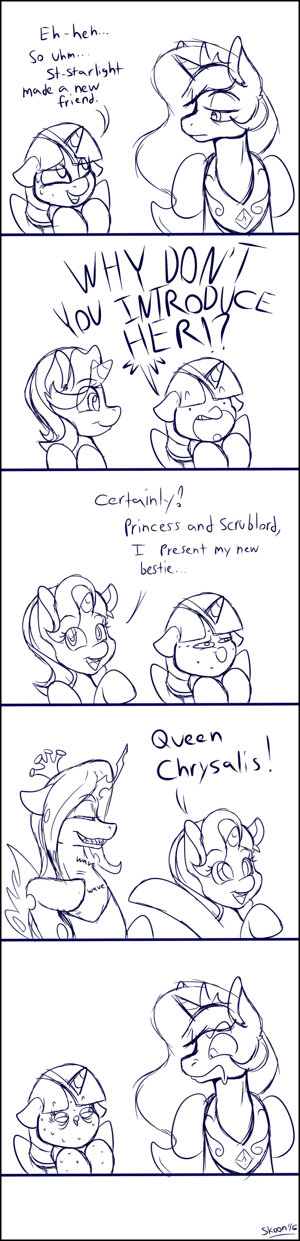 comic,chrysalis,princess celestia,twilight sparkle,starlight glimmer,no second prances
