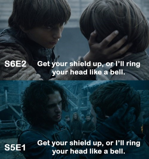 Game of Thrones Meme about a line used twice by different characters.