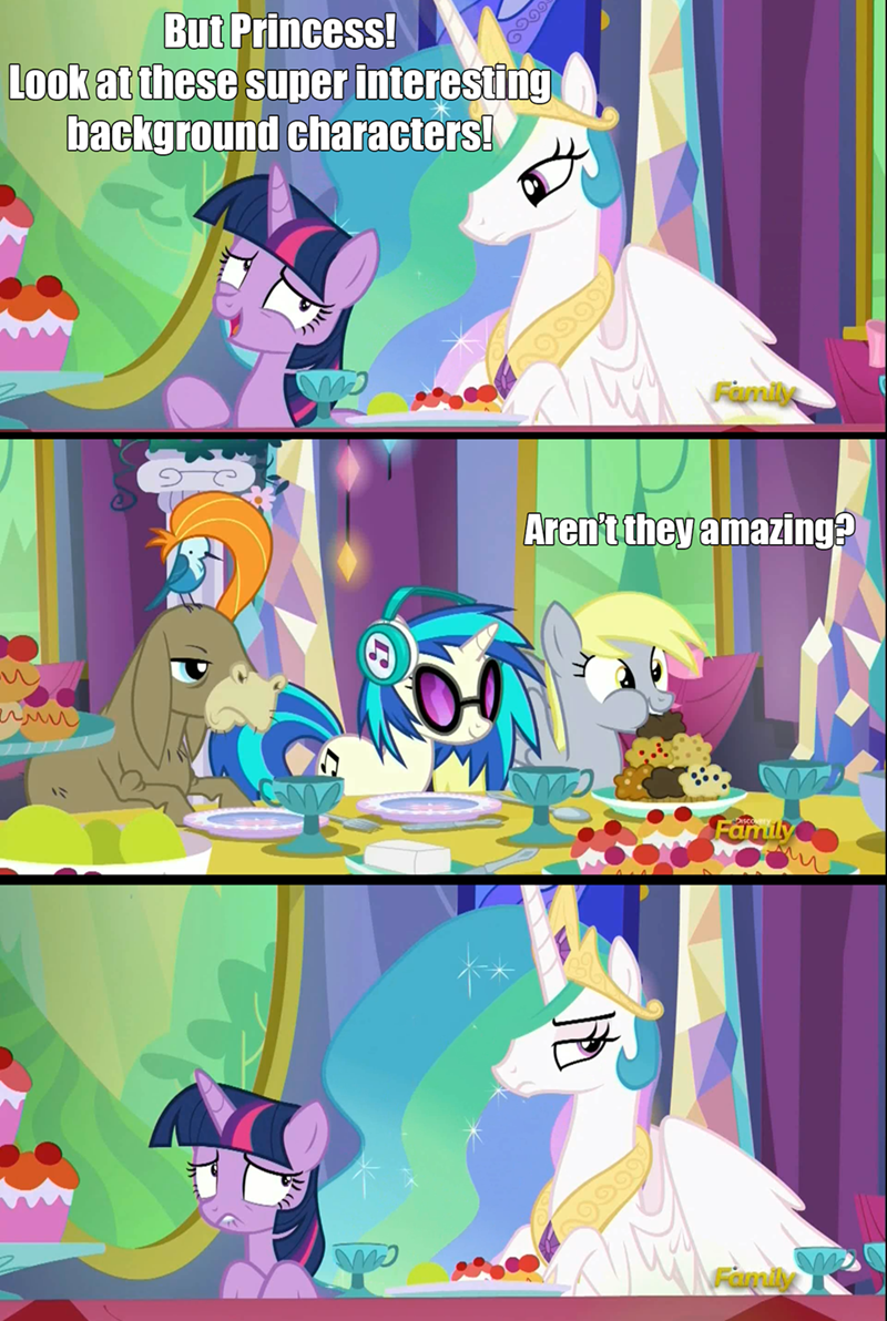 derpy hooves,twilight sparkle,cranky doodle donkey,vinyl scratch,no second prances,princess celestia