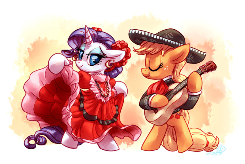 applejack,cinco de mayo,flamenco,rarity,mariachi