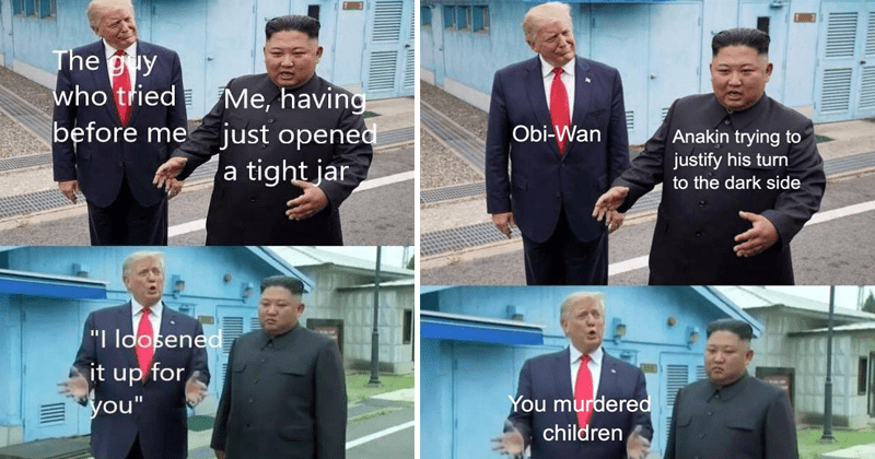 Funny dank memes of Donald Trump and Kim Jong-Un.