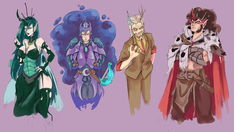 sombra,nightmare moon,humanized,discord,chrysalis