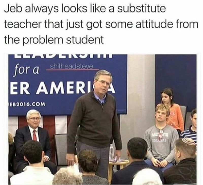 jeb bush substitute teacher attitude problem