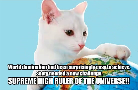 world ruler domination universe globe caption Cats - 8794236160