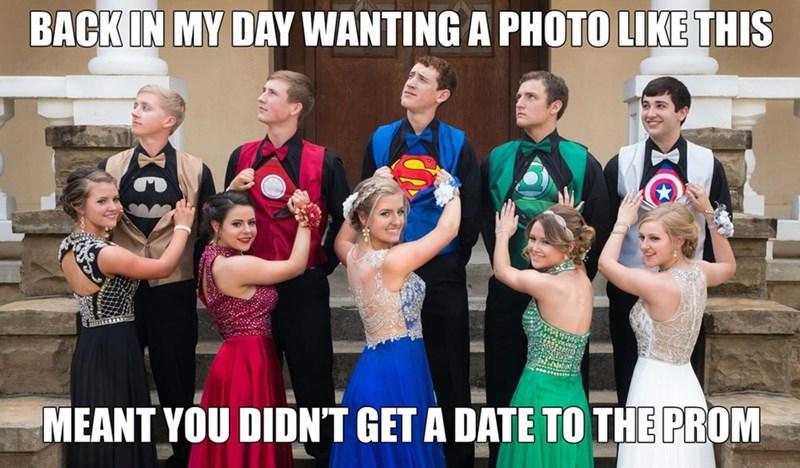superhero prom photo with dates