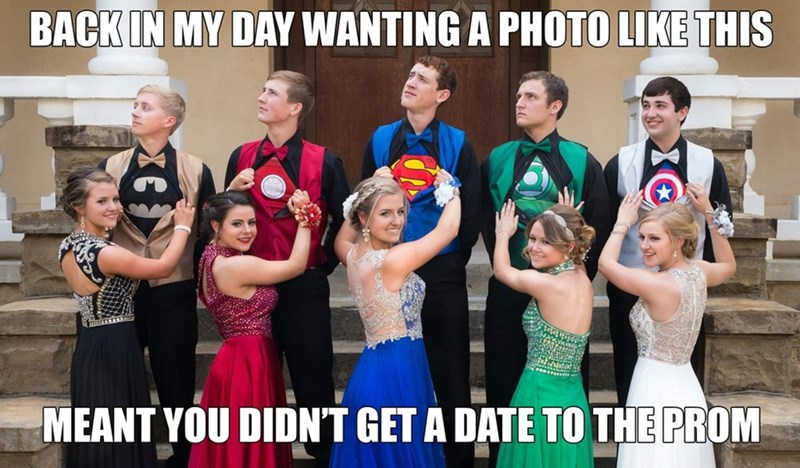 superhero prom photo with dates