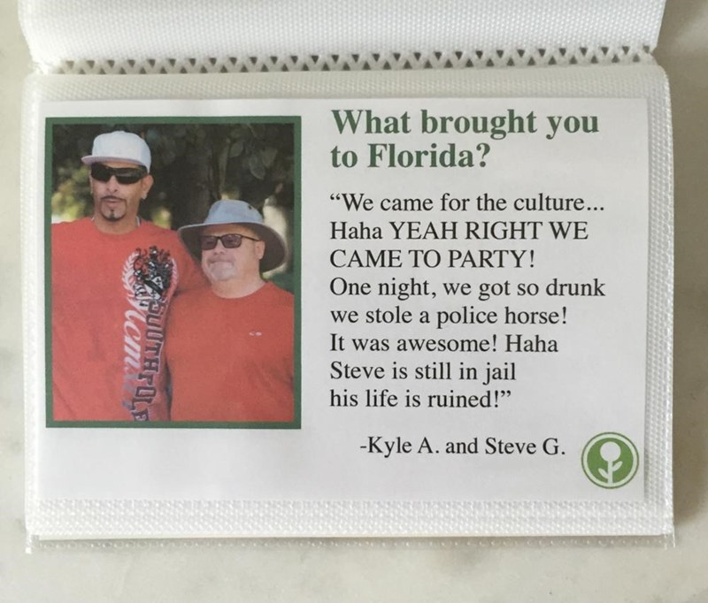 "Text - What brought you to Florida? ""We came for the culture... Haha YEAH RIGHT WE CAME TO PARTY! One night, we got so drunk we stole a police horse! It was awesome! Haha Steve is still in jail his life is ruined!"" -Kyle A. and Steve G. THOLE"