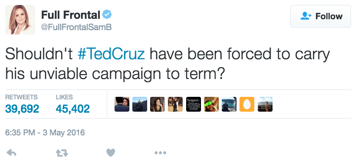 funny political image ted cruz aborts presidential nomination joke