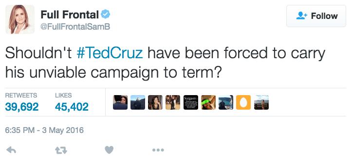 funny political image ted cruz aborts presidential nomination joke