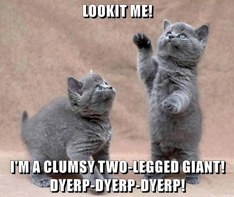 LOOKIT ME!  I'M A CLUMSY TWO-LEGGED GIANT! DYERP-DYERP-DYERP!
