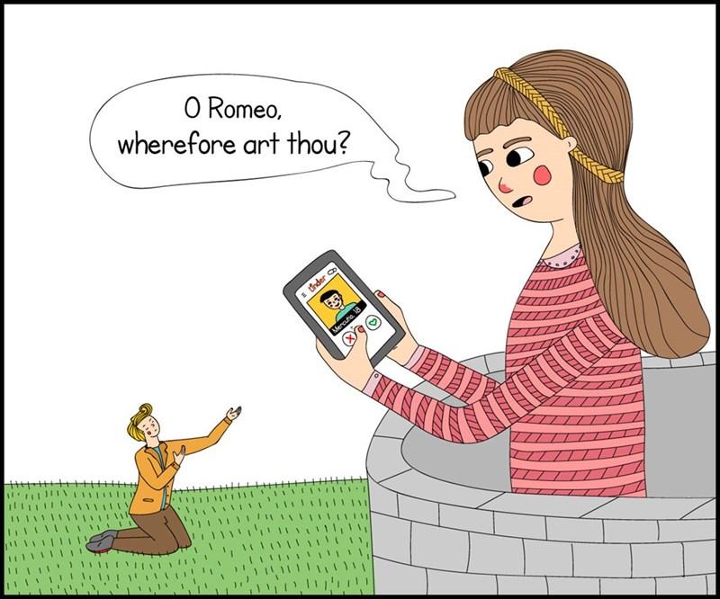 Cartoon - O Romeo, wherefore art thou? tinder Mercutio,8 . (