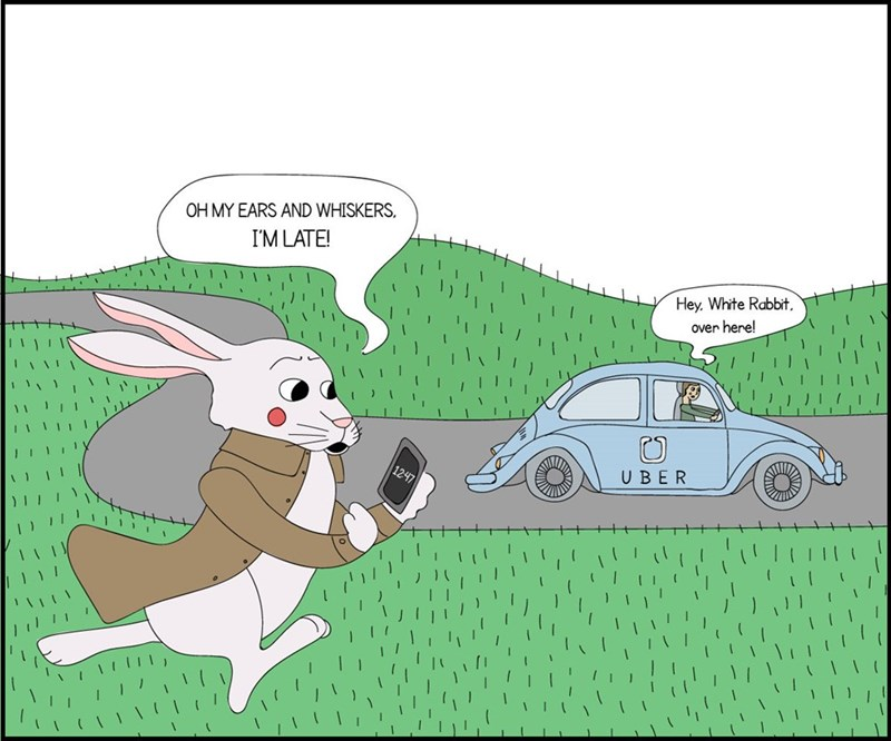 Cartoon - OH MY EARS AND WHISKERS I'M LATE! Hey, White Rabbit, over here! UBER 1247