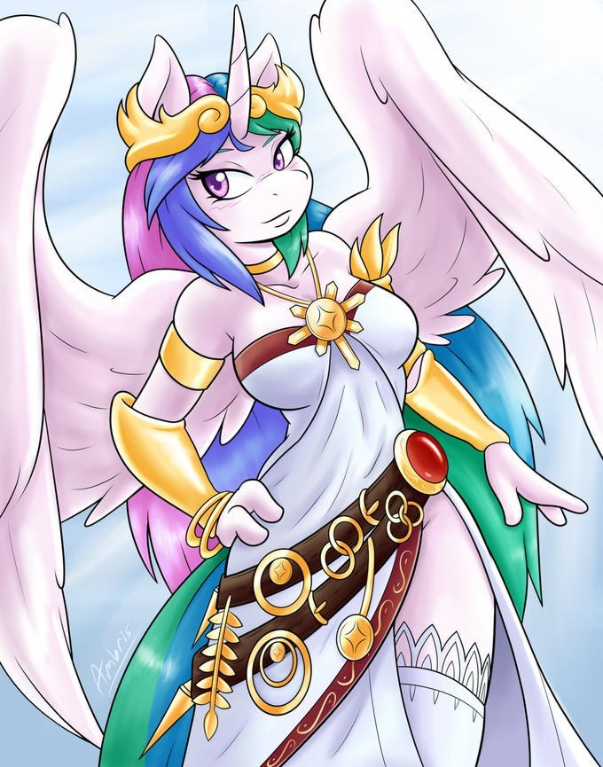 ponify,princess celestia,anthropomorphic,palutena