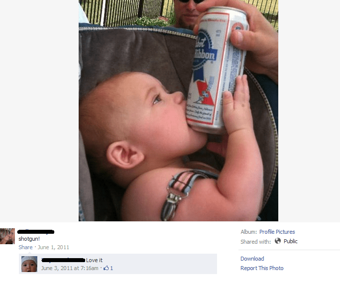beer baby FAIL pbr parenting shotgun