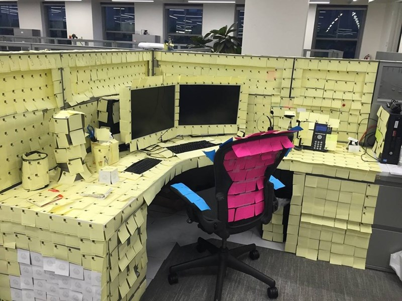 Office prank sticky notes image