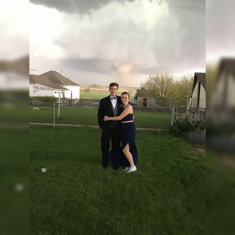 image prom tornado Forget Renting a Limo, These Kids Got a Tornado for Their Prom Pictures