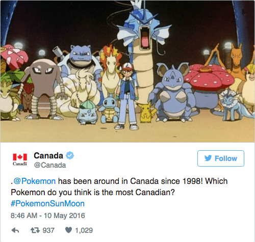 Cartoon - + Canada Canad @Canada Follow .@Pokemon has been around in Canada since 1998! Which Pokemon do you think is the most Canadian? #PokemonSunMoon 8:46 AM - 10 May 2016 937 1,029