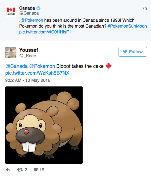 Text - Canada Canadi@Canada 7h .@Pokemon has been around in Canada since 1998! Which Pokemon do you think is the most Canadian? #PokemonSunMoon pic.twitter.com/yfCOHHisF1 Youssef Follow @_Knee @Canada @Pokemon Bidoof takes the cake pic.twitter.com/WzKsh5B7NX 9:02 AM - 10 May 2016 t2 16
