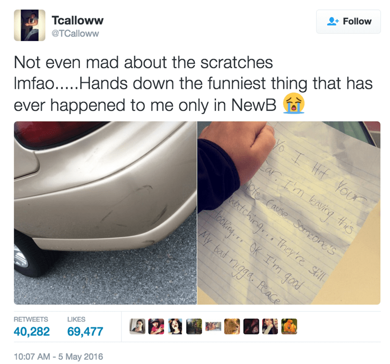 funny twitter image guy hits car and leaves fake note