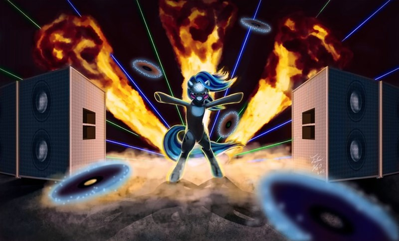 vinyl scratch,cool mares don't look at explosions