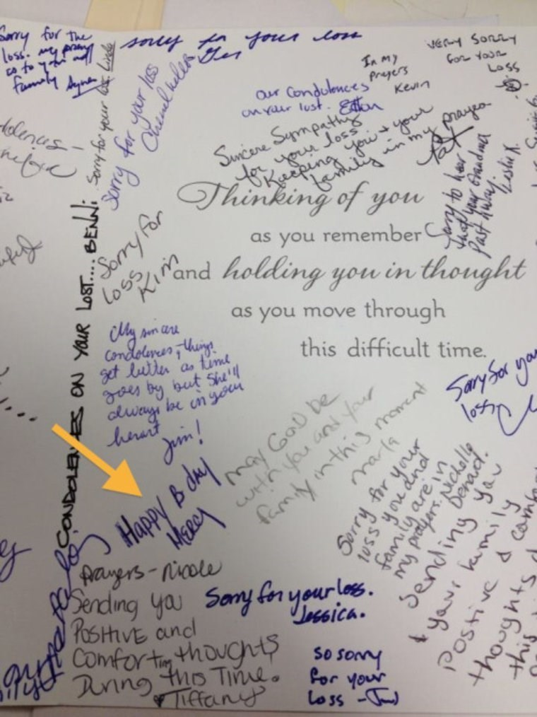 funny fail image coworker signed condolences card with happy birthday message