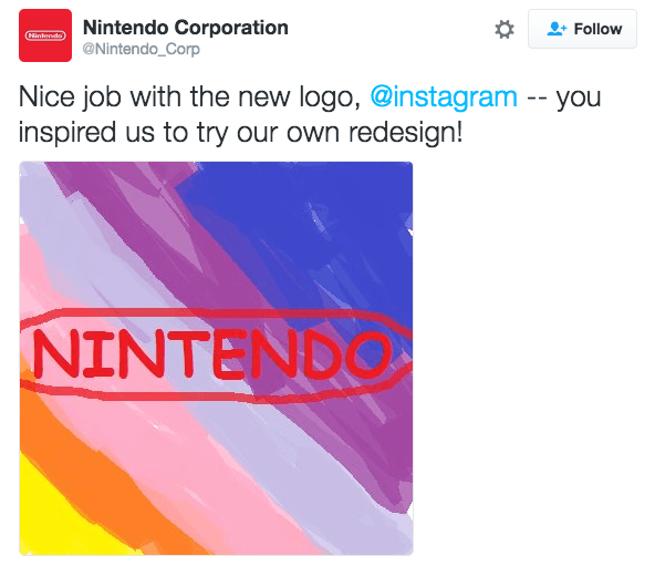 Text - Nintendo Corporation @Nintendo Corp Follow Clintendo Nice job with the new logo, @instagram -- you inspired us to try our own redesign! NINTENDO