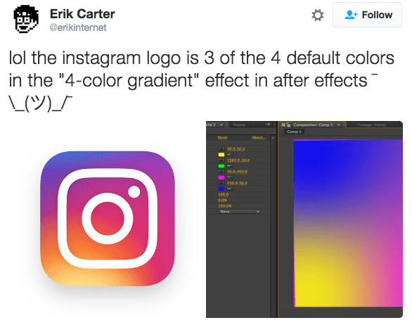 """Text - Erik Carter Follow @erikinternet lol the instagram logo is 3 of the 4 default colors in the """"4-color gradient"""" effect in after effects L(ツ)」 Conpositon Comp Footage n) Comp Reset About. 569.50.0 1387.0.50.0 saa450. 450.9.36. L00.0 4.ON None"""