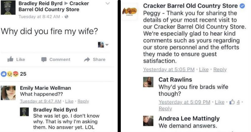 man on facebook demands to know why cracker barrel fired his wife