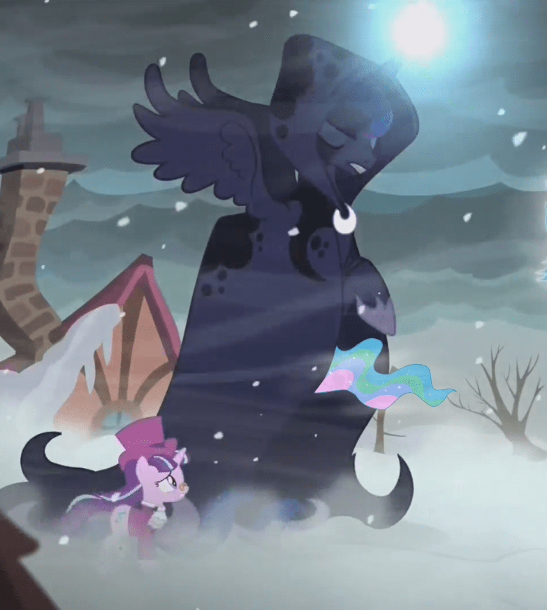 a hearth's warming tail,starlight glimmer,princess luna,ghost of christmas future,princess celestia,two ponies in a coat pretending to be a taller pony,snowfall frost