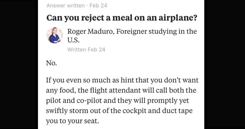Funny and stupid Quora question about whether it is okay to refuse a meal on a flight
