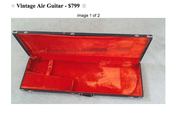 Image of a troll that posted a Craigslist ad for an air guitar to sell for $799 - Basically just an empty old guitar case.