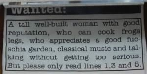 image trolling personal ads Classic Ad in the Personals Section of the Newspaper