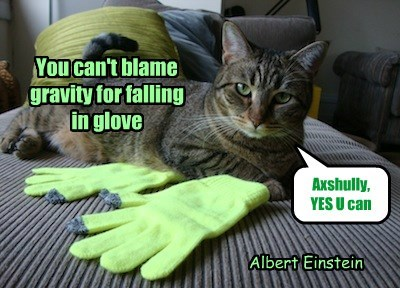 You can't blame gravity for falling  in glove