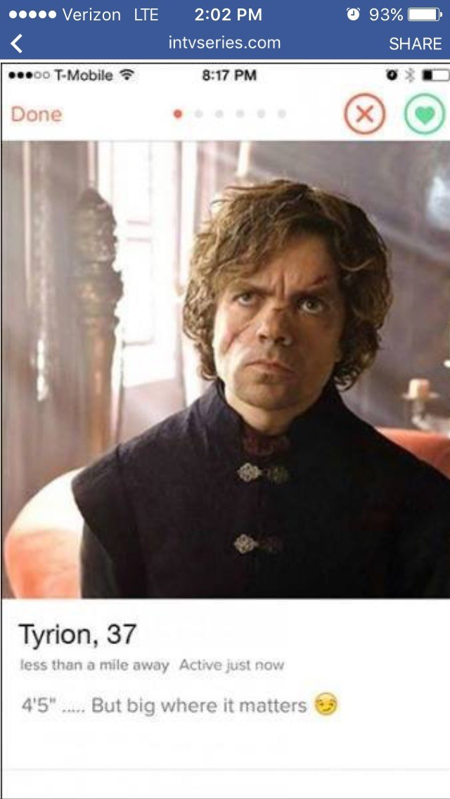 "Photo caption - Verizon LTE O 93% 2:02 PM intvseries.com SHARE oo T-Mobile 8:17 PM Done Tyrion, 37 less than a mile away Active just now 4'5"".But big where it matters"