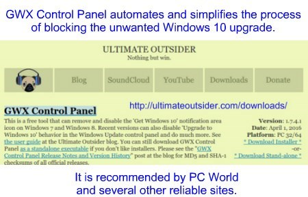 """Stop Win 10 upgrade using """"GWX Control Panel"""" http://ultimateoutsider.com/downloads/"""