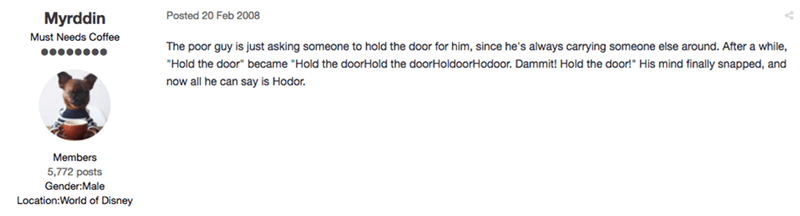 this guy figured out what hodor meant years ago