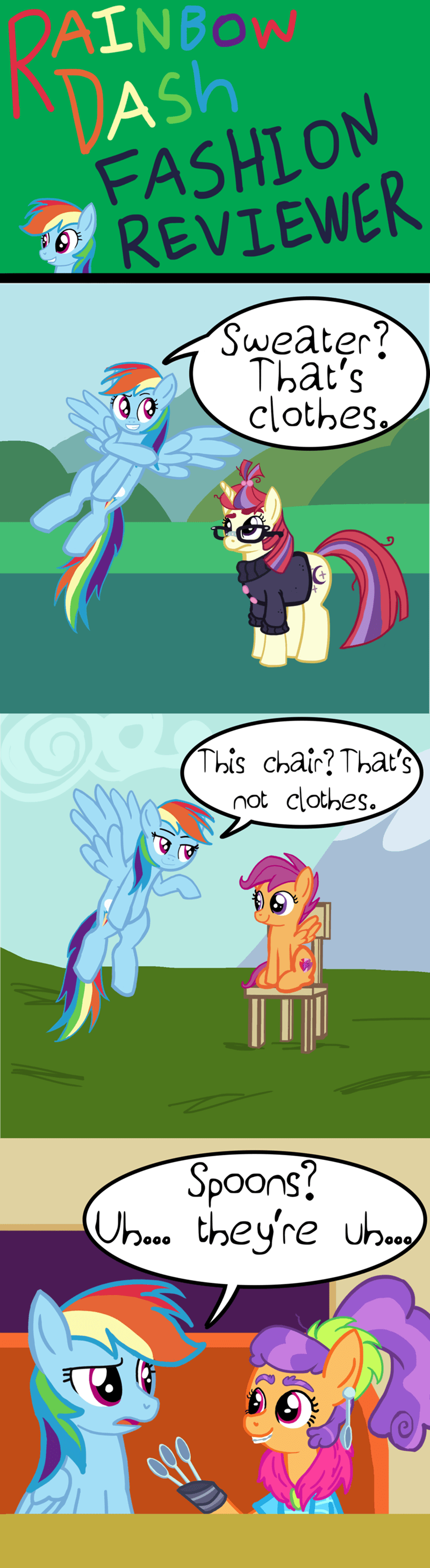 plaid stripes,moon dancer,spoons,comic,Scootaloo,rainbow dash