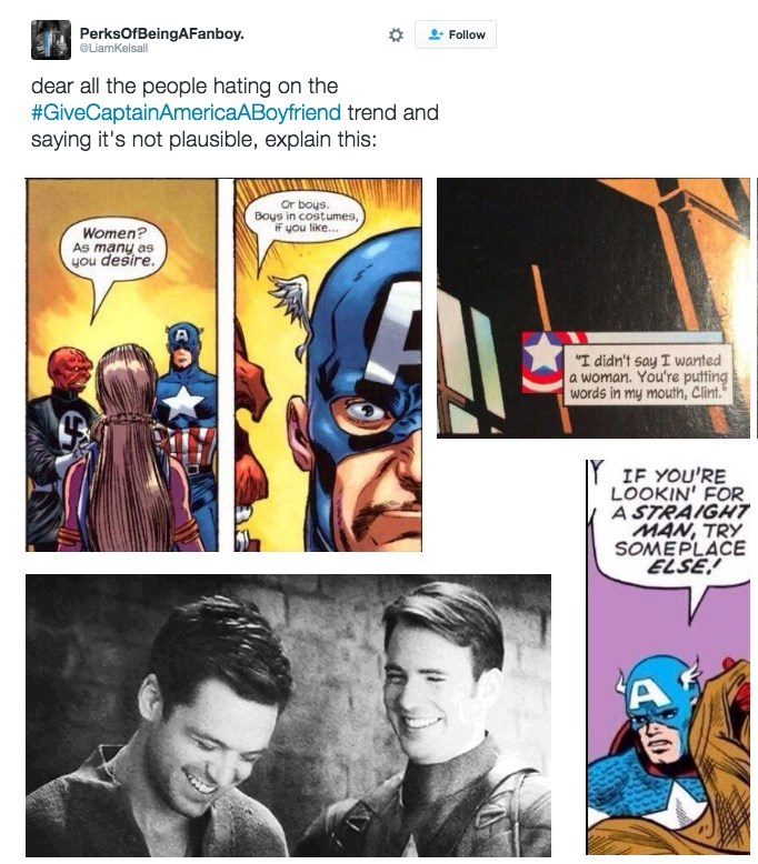 image superheroes lgbtq Marvel Fans Really Want Captain America to Have a Boyfriend