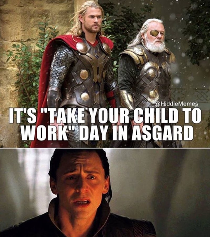 marvel-superheroes-loki-thor-kid-to-work-day