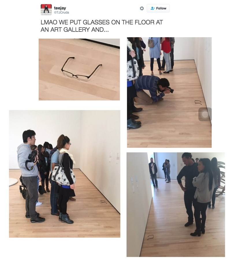 image art prank Visitors to an Art Gallery Were Trolled by Strategically Placed Glasses