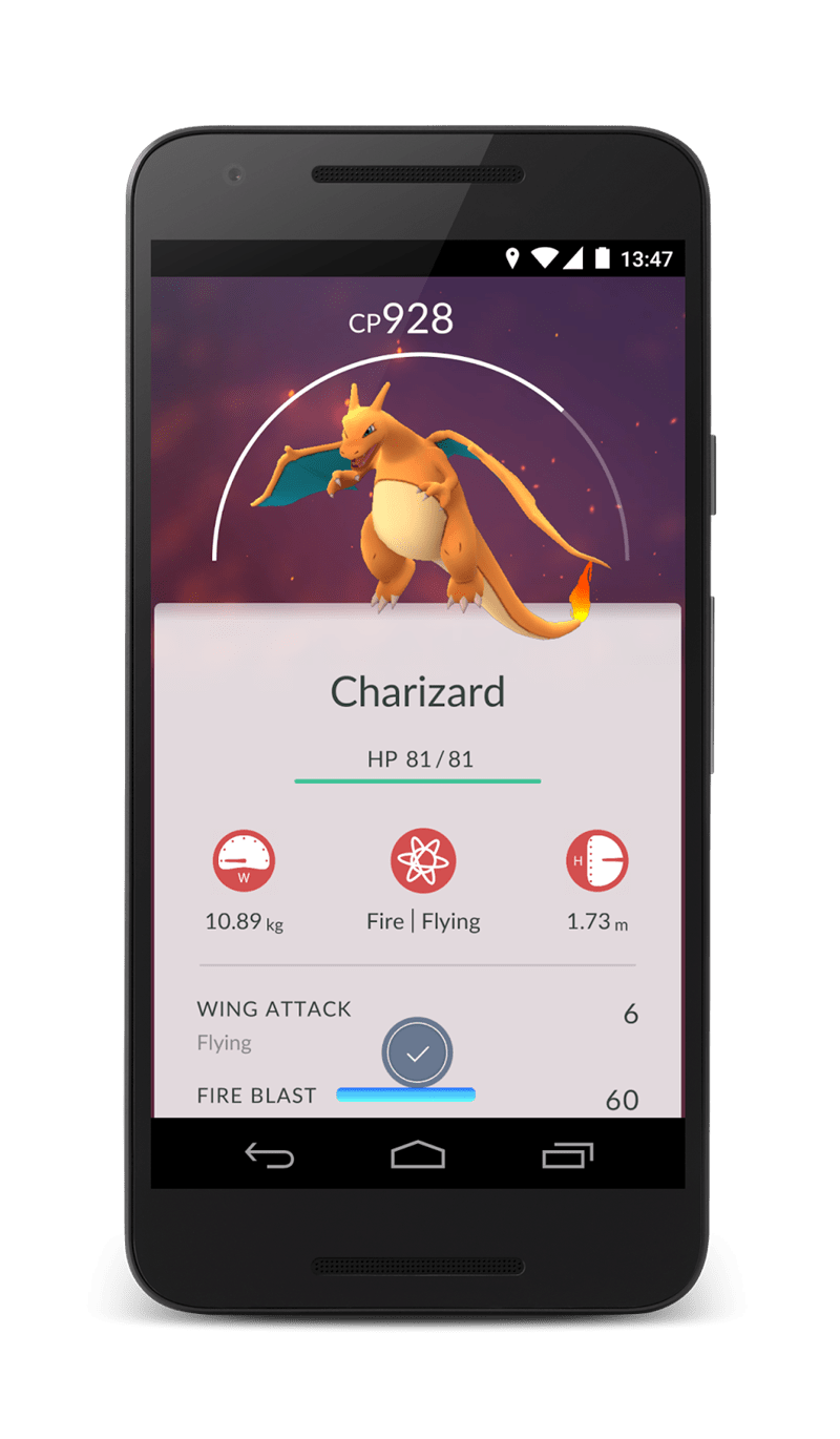Mobile phone - 13:47 CP928 Charizard HP 81/81 H W Fire Flying 10.89 kg 1.73 m WING ATTACK 6 Flying FIRE BLAST 60