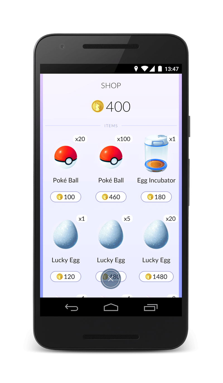 Mobile phone - 13:47 SHOP 400 ITEMS x20 x100 х1 Poké Ball Poké Ball Egg Incubator 100 460 180 x5 х20 х1 Lucky Egg Lucky Egg Lucky Egg 120 1480