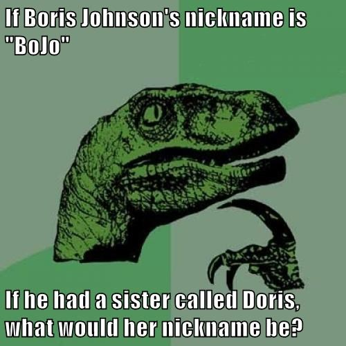 "If Boris Johnson's nickname is ""BoJo""  If he had a sister called Doris, what would her nickname be?"